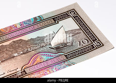 20 Yemeni rial bank note. Rial is the national currency of Yemen - Stock Photo