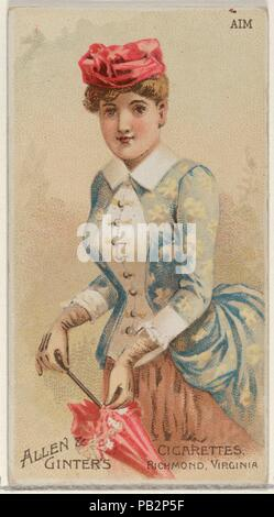 Aim, from the Parasol Drills series (N18) for Allen & Ginter Cigarettes Brands. Dimensions: Sheet: 2 3/4 x 1 1/2 in. (7 x 3.8 cm). Lithographer: Schumacher & Ettlinger (New York). Publisher: Allen & Ginter (American, Richmond, Virginia). Date: 1888.  Trade cards from the 'Parasol Drill' series (N18), issued in 1888 in a set of 50 cards to promote Allen & Ginter brand cigarettes. Museum: Metropolitan Museum of Art, New York, USA. - Stock Photo