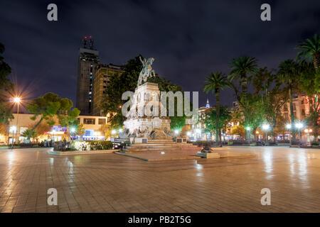 Plaza San Martin at night - Cordoba, Argentina - Stock Photo