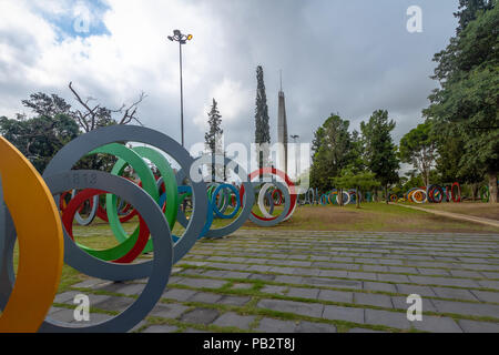 Bicentenary Square (Plaza del Bicententario) with rings telling the history of Argentina - Cordoba, Argentina - Stock Photo