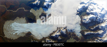 NASA satellite image of the San Quintín Glacier largest outflow glacier of  Northern Patagonian Ice Field, Chile, South America June 2, 2014 - Stock Photo