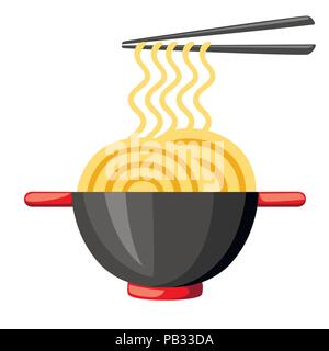 Bowls with ramen noodles. Chopsticks holding noodle. Asian traditional food. Black bowls with red handle. Flat vector illustration isolated on white b - Stock Photo
