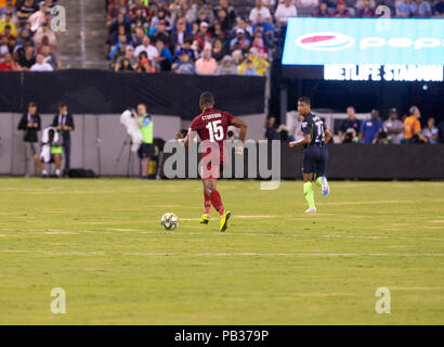 East Rutherford, NJ - July 25, 2018: Daniel Sturridge (15) of Liverpool FC controls ball during ICC game against Manchester City at MetLife stadium Liverpool won 2 - 1 - Stock Photo