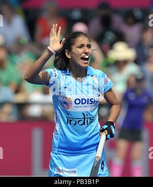 London, UK. 26th July, 2018. Monika (IND). India V Ireland. Match 14. Pool B. Womens Hockey World Cup 2018. Lee Valley hockey centre. Queen Elizabeth Olympic Park. Stratford. London. UK. 26/07/2018. Credit: Sport In Pictures/Alamy Live News - Stock Photo