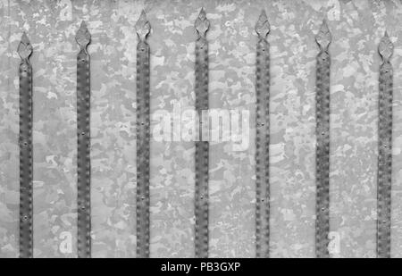 Background texture of galvanized steel gates with metal strips details - Stock Photo