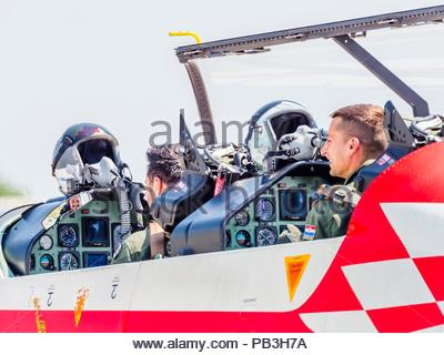 Krila oluje aerobatic group from Croatia, two pilots crew members just after landing - Stock Photo