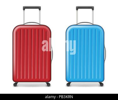 Realistic red and blue large travel plastic suitcase. polycarbonate suitcase with wheels isolated on white. Traveler luggage bag design concept. vector illustration - Stock Photo