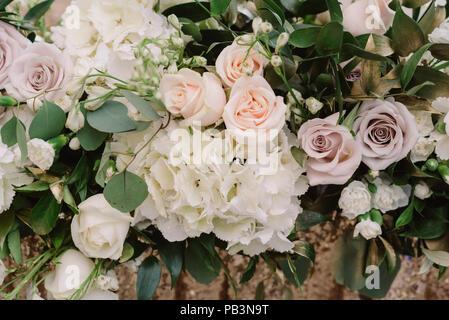 Flower background from fresh flowers. Beautiful wedding flowers - Stock Photo