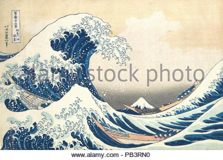 Under the Wave off Kanagawa (Kanagawa oki nami ura), also known as The Great Wave, from the series Thirty-six Views of Mount Fuji (Fugaku sanjurokkei). Artist: Katsushika Hokusai (Japanese, Tokyo (Edo) 1760-1849 Tokyo (Edo)). Culture: Japan. Dimensions: 10 1/8 x 14 15/16 in. (25.7 x 37.9 cm). Date: ca. 1830-32.  The breathtaking composition of this woodblock print, said to have inspired Debussy's La Mer (The Sea) and Rilke's Der Berg (The Mountain), ensures its reputation as an icon of world art. Hokusai cleverly played with perspective to make Japan's grandest mountain appear as a small trian - Stock Photo