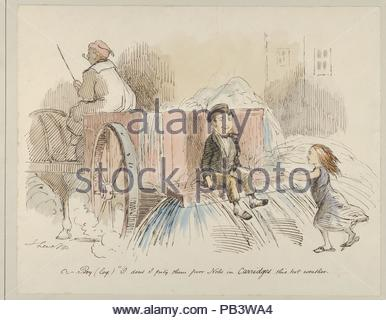 Boy (loq.) O don't I pity them poor Nobs in Carriages this hot weather. Artist: John Leech (British, London 1817-1864 London). Dimensions: Sheet: 10 3/16 × 12 3/4 in. (25.8 × 32.4 cm). Date: 1830-64. Museum: Metropolitan Museum of Art, New York, USA. - Stock Photo