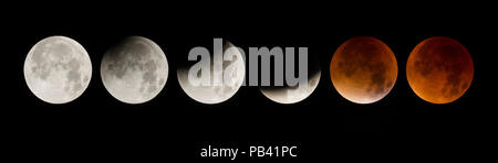 Total Lunar Eclipse of a Supermoon on September 28th 2015. Also called a Blood Moon. A digital composite of 6 images showing the moon moving through different phases; from the beginning of the penumbral eclipse (left image) to the peak total eclipse (far right). The first image on the left was taken at 2.16am and the last image at 4.44am. Southern Norway. September. Digital Composite. - Stock Photo