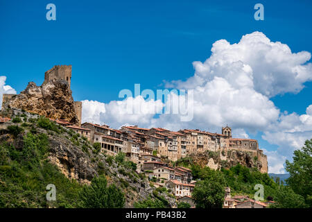 Panoramic view of a small town Frías, province of Burgos, Castile and Leon, Spain - Stock Photo