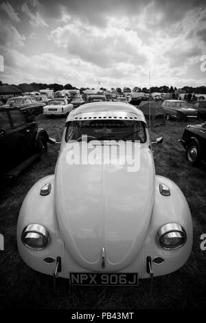 Volkswagen Beetle on taking part in the classic car show at the 2018 Cheshire Steam Fair - Stock Photo