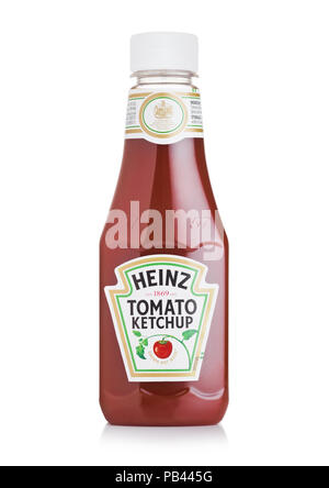 LONDON, UK - JULY 28, 2018: A bottle of Heinz Ketchup on white background. - Stock Photo