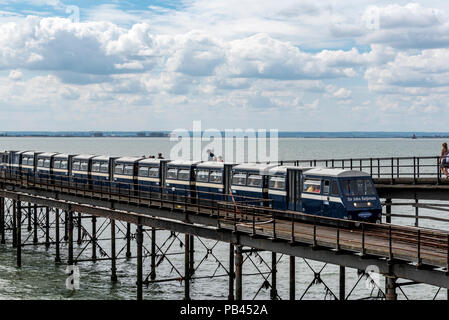 Pier railway train being pulled by the engine Sir John Betjeman, Southend on Sea. - Stock Photo