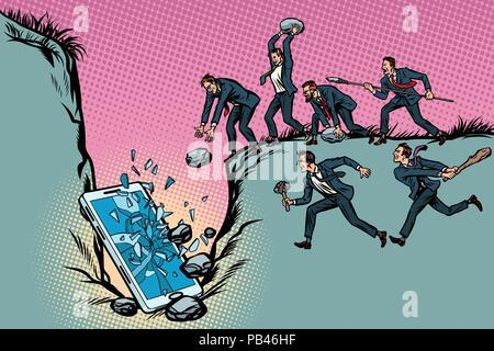 Savages businessmen kill a smartphone. Politics and censorship.  - Stock Photo