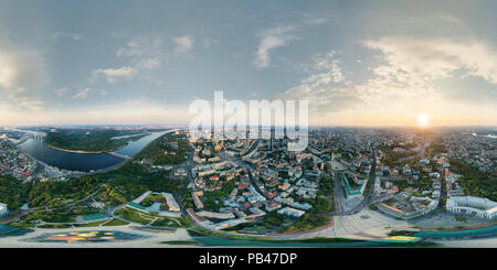 A big 360 degrees panorama in high resolution of the center of Kiev city at sunset. - Stock Photo