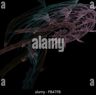 Abstract fractal multicolor wallpaper on a black background - Stock Photo