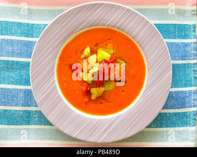 Gazpacho - cold soup made of raw, blended vegetables - Stock Photo