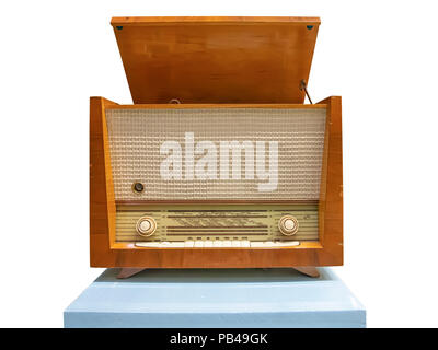 Vintage wooden radiogram isolated on whitebackground - Stock Photo