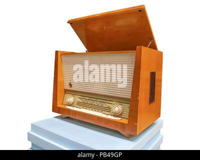 Vintage wooden radiogram isolated on whitebackground - Stock Photo