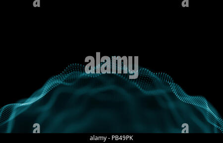Abstract Blue Geometrical Background . Futuristic technology style. Neon Sign . Futuristic Technology HUD Element . Elegant Abstract background . Big data visualization . - Stock Photo