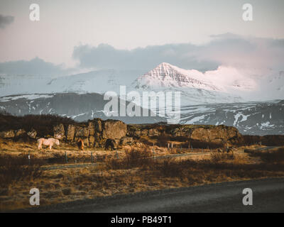 Street Highway Ring road No.1 in Iceland, with view towards mountain. Southern side if the country. - Stock Photo