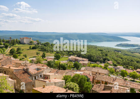 Panorama of Aiguines and its castle above lake sainte croix in Provence, France - Stock Photo