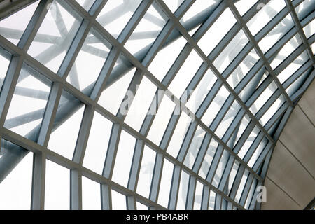 Airport terminal roof. Abstract architecture detail background, Modern roof pattern contemporary. Section of the curved reinforced steel roof joists i - Stock Photo