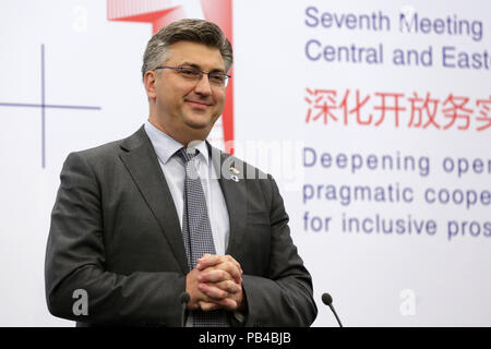 Sofia, Bulgaria - 7 July, 2018: Prime Minister of Croatia Andrej Plenkovic speaks during a news conference at the 7th Summit of Heads of Government of - Stock Photo
