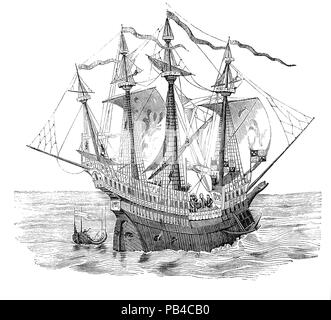 'Henry Grace à Dieu', also known as Great Harry, an English carrack was  Henry VIII's flagship with a crew of 700 to 1,000 men.  She was the first English two-decker and when launched around 1513 was the largest and most powerful warship in Europe and one of the first vessels to feature gunports, with twenty heavy bronze cannon, allowing for a broadside.  But early on it became apparent that the ship was top heavy, plagued with heavy rolling in rough seas and poor stability adversely affected gun accuracy and general performance as a fighting platform. - Stock Photo
