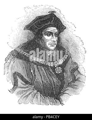 Portrait of Sir Thomas More (1478-1535), venerated in the Catholic Church as Saint Thomas More,was an English lawyer, social philosopher, author, statesman, and noted Renaissance humanist. He was also councillor to Henry VIII, and Lord High Chancellor of England from 1529 to 1532. He opposed the Protestant Reformation and the king's separation from the Catholic Church; and refused to acknowledge Henry as Supreme Head of the Church of England and the annulment of his marriage to Catherine of Aragon. After refusing to take the Oath of Supremacy, he was convicted of treason and beheaded. - Stock Photo