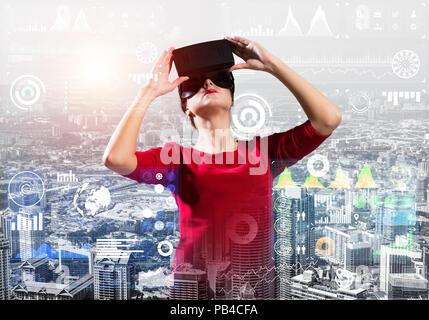 Conceptual image of virtual reality technology - Stock Photo