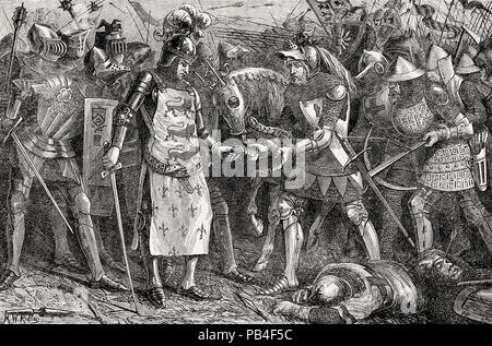 The surrender of King John II of France, Battle of Poitiers in 1356, Hundred Years' War, From British Battles on Land and Sea, by James Grant