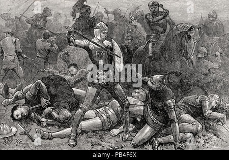 King Henry V and the Duke D'Alençon at the Battle of Agincourt on 25th October 1415, Hundred Years War, From British Battles on Land and Sea, by James - Stock Photo