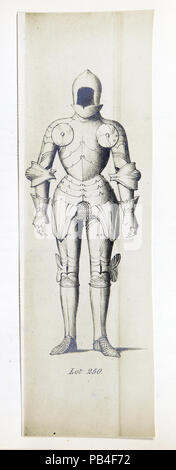 Lot 250 'A Magnificent early cap-a-pie suit of Knight's polished steel ribbed armour' - Stock Photo