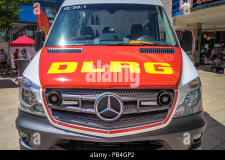 Wolfsburg, Lower-Saxony, Ger,any, July 1st 2018: Mercedes ambulances in action for the DLRG (German Life Saving Society) - Stock Photo