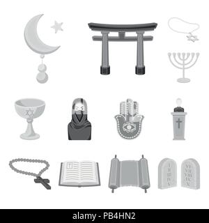 Religion and belief monochrome icons in set collection for design. Accessories, prayer vector symbol stock  illustration. - Stock Photo