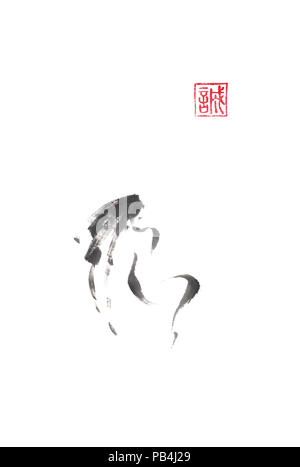 Girl admiring the moon minimalistic Japanese style original sumi-e ink painting. Hieroglyph featured means sincerity. Great for greeting cards or text - Stock Photo