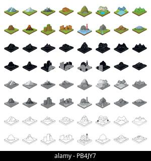 Mountains, rocks, lighthouse, volcano and other land reliefs. Mountains and landscapes set collection icons in cartoon style isometric vector symbol s - Stock Photo