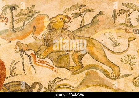 Italy Sicily Piazza Amerina Villa Romana del Casale Roman Villa Unesco World Heritage Site 3rd/4th century floor mosaics Ambulatory of the Great Hunt - Stock Photo