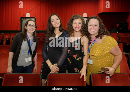 Bellmore, New York, USA. July 18, 2018. L-R, STEPHANIE DONNELLY, director and writer of short film The Adventures of Penny Patterson; AJNA JAI, actor playing Penny Patterson; BETHANY NICOLE TAYLOR, lead actress in romcom short film Joe; and SHARA ASHLEY ZEIGER, producer and writer of film Joe, chat after final block of films at LIIFE 2018, the Long Island International Film Expo. - Stock Photo