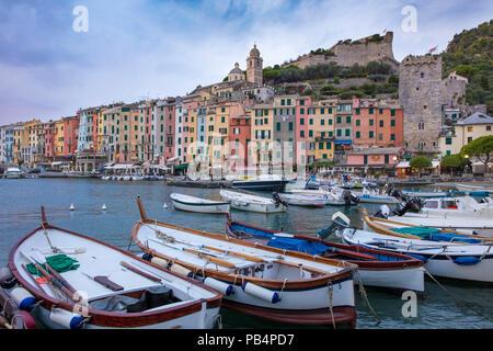 Boats in the harbor in Portovenere, La Spezia, Liguria, Italy - Stock Photo