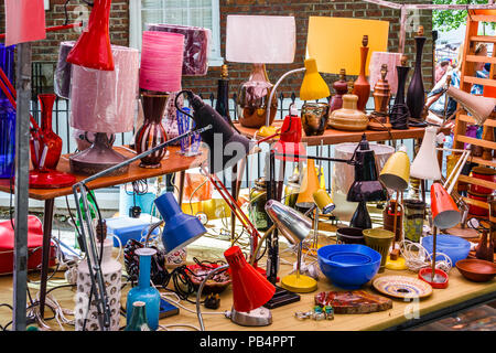 An array of lamps on a stall at the 'Fair in the Square', an annual festival in Pond Square and South Grove, Highgate Village, London, UK - Stock Photo