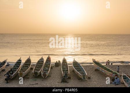 Sunset on the beach at Toubab Dialao, Senegal - Stock Photo