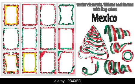 vector elements, ribbons and frames with flag colors Mexico, template for your certificate and diploma. - Stock Photo