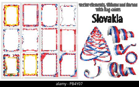 vector elements, ribbons and frames with flag colors Slovakia, template for your certificate and diploma. - Stock Photo