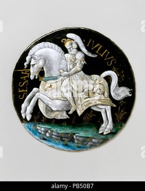 Julius Caesar. Artist: Workshop of Colin Nouailher (French, active 1539, d. after 1571). Culture: French, Limoges. Dimensions: Diameter (without frame): 9 1/2 in. (24.1 cm);  Diameter (with frame): 14 7/8 in. (37.8 cm). Date: probably ca. 1541.  This portrait of Julius Caesar is part of a series depicting the Nine Worthies, historical figures thought to embody the values of chivalry--from antiquity: Hector, Alexander, and Julius Caesar; from the Old Testament: Joshua, David, and Judas Maccabeus; and from the Middle Ages: King Arthur, Charlemagne, and Godefroy de Bouillon. The Nine Worthies wer - Stock Photo