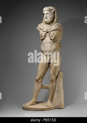 Marble statue of a bearded Hercules. Culture: Roman. Dimensions: H. without pedestal 93 3/4 in. (238.20 cm.). Date: A.D. 68-98.  Restorations made during the early 17th century: both legs, the plinth, the support at the left leg, pieces in the lion's skin. The arms were also restored but have been removed.  This statue and the over-life-sized statue of Hercules across the courtyard in all probability were made as a pair to decorate one of the great spaces in a large public bath. Although they are much restored, their stance and attributes are essentially correct and are variants on long-establ - Stock Photo