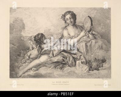 The Muse Erato. Artist: After François Boucher (French, Paris 1703-1770 Paris); Albert Ardail (French, Paris 1865-1914 Paris). Dimensions: Sheet: 7 3/8 × 11 1/8 in. (18.8 × 28.3 cm)  Plate: 6 3/4 × 9 1/16 in. (17.1 × 23 cm). Printer: A. Salmon and Ardail (French, active 1863-96). Publisher: Gazette des Beaux-Arts. Date: 1890. Museum: Metropolitan Museum of Art, New York, USA. - Stock Photo